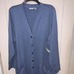 LOGO by Lori Goldstein Sweaters - LOGO Lounge blue French terry cardigan Size 2X